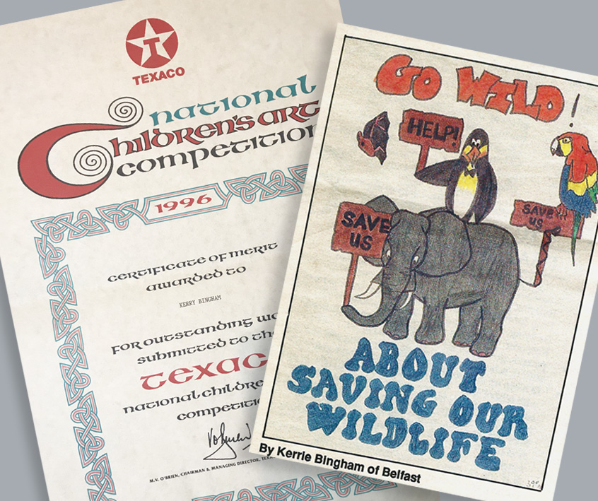 "Image of a newspaper clipping of the competition Kerrie won as a child. Second page in the image is Kerrie's entry, a hand drawing comprised of an elephant, penguin and parrot. The animals hold a sign saying ""help"", framed by a ""save the planet"" message."